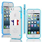 Apple iPhone 4 4s Ultra Thin Transparent Clear Hard TPU Case Cover France French Flag (Light Blue)