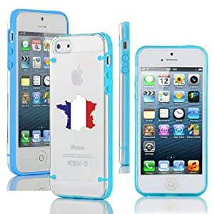 Apple iPhone 5c Ultra Thin Transparent Clear Hard TPU Case Cover France French Flag (Light Blue)