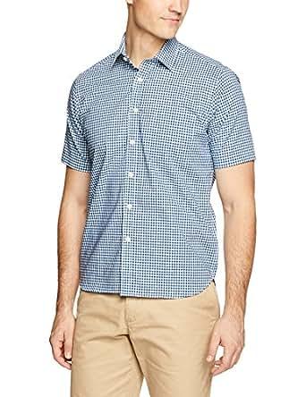 Blazer Men's Thomas Short Sleeve Check Shirt, Aqua-Navy, S