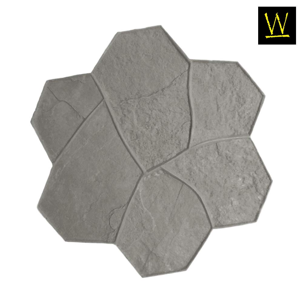 Original Random Stone Concrete Stamp Single by Walttools | Decorative Rock Tile Pattern, Sturdy Polyurethane Texturing Mat, Realistic Detail (Floppy, Flex) by Walttools