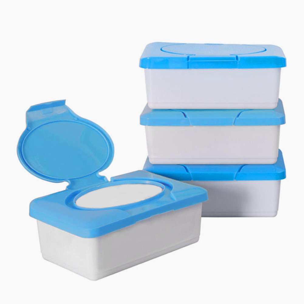 Plastic Wet Tissue Case Real Tissue Case Ocaler Baby Wipes Box Home Tissue Holder Accessories blue