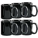 Creative Home 85344 Set of 6 Piece, Ceramic Coffee Mug Tea Cup, 12 oz, Black
