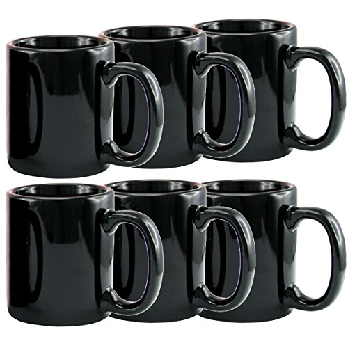 Creative Home 12 oz ceramic Tea Cup Coffee Mug (Set of 6), Black