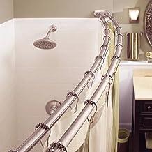 Adjustable Double Curved Shower Curtain Rod Crescent Bathtub Satin Nickel