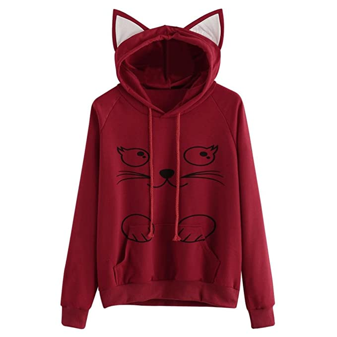 Internet Sudadera con capucha de manga larga de gato para mujer Sudadera con capucha Sudaderas con