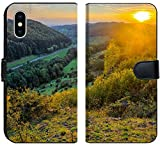 Liili Premium iPhone X Flip Micro Fabric Wallet Case Image ID 32290677 Idyllic Autumn Scenery Near a Lovely Country Road in The Rocky Jura Mountains of Bavaria