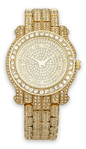 Mens Iced Out Watch (Gold) - Men Fake Rolex Watches