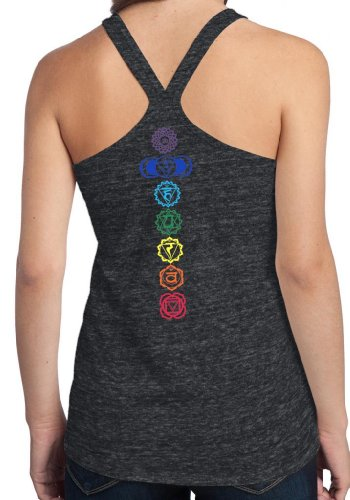 Yoga Clothing For You Ladies Colored Chakras T-back Tank, Large Charcoal Heather (neck print) For Sale