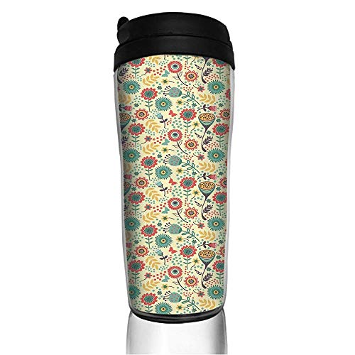 Stainless Steel Insulated Coffee Travel Mug,Flower Bouquet Botany Garden Leaves Illustration,Spill Proof Flip Lid Insulated Coffee cup Keeps Hot or Cold 11.8oz(350 ml) Customizable -