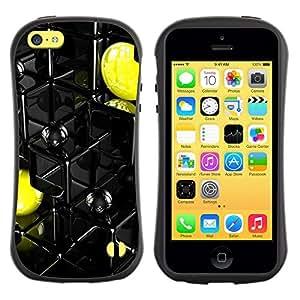 Paccase / Suave TPU GEL Caso Carcasa de Protección Funda para - Abstract Yellow Pac - Apple Iphone 5C