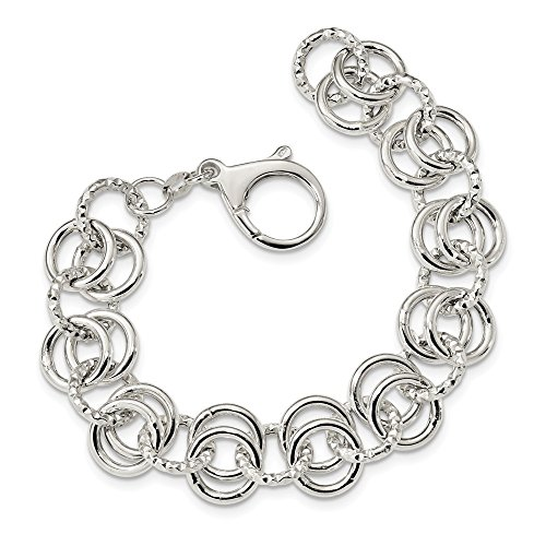 lets Link Bracelets Sterling Silver Polished and Textured Circle Fancy Link 7.5 inch Bracelet ()