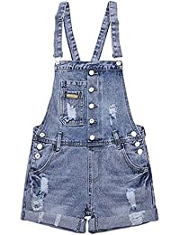 Womens Wash Jumper Denim Overall Shorts