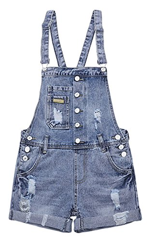 AvaCostume Womens Wash Jumper Denim Overall Shorts, M