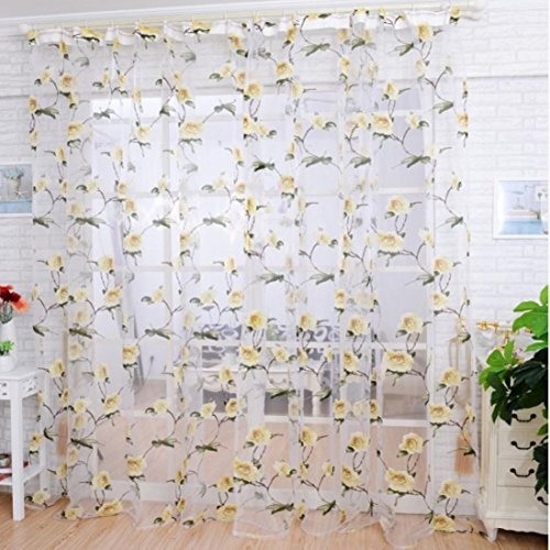 Printed Flower Lace Chiffon Tulle Sheer Window Treatments Door Screen Curtain (80 inch x 40 inch) (Yellow) ()