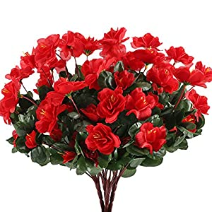 GTIDEA 4pcs Silk Flower Artificial Azalea Fake Faux Primroses Bouquet Arrangements DIY Home Garden Table Patio Wedding Party Christmas Decoration Red 1