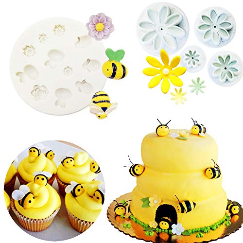 Daisy Pop Candy Molds - Set of 5 JeVenis Bumble Bee Cake Decoration Bumble Bee Fondant Mold Bee Mold Daisy Flower Mold Sugar craft Cupcake Cake Projects for What Will It Bee Baby Shower Gender Reveal Party Decorations