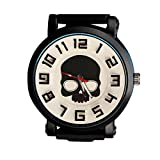OurJewellery Punk Rock Black Heavy Duty Skull Pattern Big Dial Silicone Band Watch