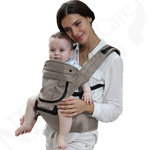 Baby Carrier Hip Seat 100 Cotton – Pocket Removable Hoodie Head Support – Adjustable Breathable – Neotech Care Brand – for Infant, Child, Toddler – Grey