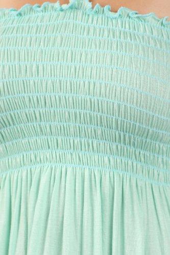 Bodice Mint Soft String Light Solid Dress Sakkas Feel Long Halter Color Jersey Smocked Sw1SYf7q
