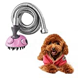 ILOVEDECOR Pet Bath Sprayer, Dog Shower Brush,Cat Bath Grooming Showering Tool,Multi-Functional Handheld Sprayer Shampoo Brush with Stainless Steel Hose (Pink)