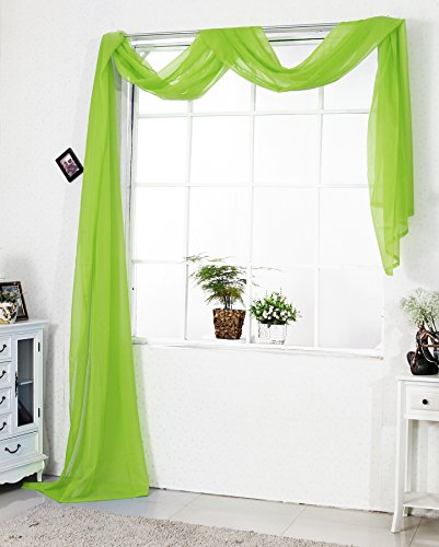 WOLTU VH5512hgn Querbehang Voile transparent Übergardinen Gardine Vorhang Stores Raumteiler Fensterschal Dekoschal Voile 140x600 cm Hellgrün