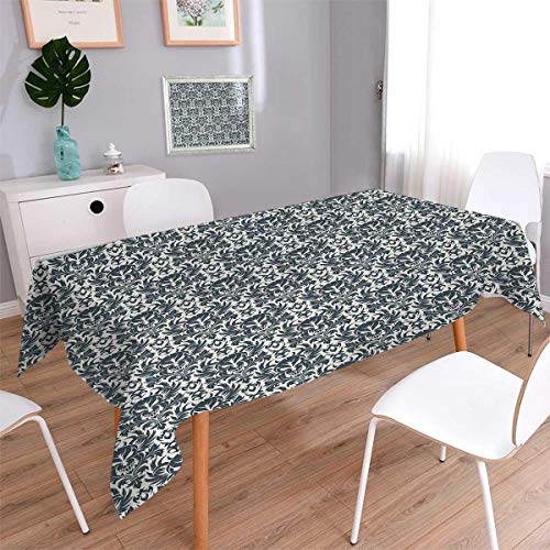 - Skull Rectangle Dinner Picnic Table Cloth Baroque Skulls in Floral Ornament Pattern Scary Artistic Victorian Print Waterproof Table Cover for Kitchen Charcoal Grey and White Size: W60