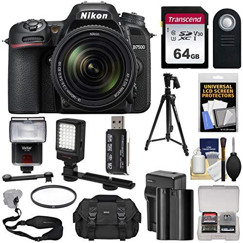 Nikon D7500 Wi-Fi 4K Digital SLR Camera & 18-140mm VR DX Lens with 64GB Card + Battery & Charger + Case + Tripod + Flash + LED Video Light + Strap Kit (Nikon Led)