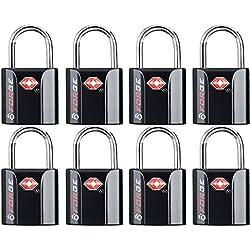 Black 8 Pack TSA Approved Luggage Locks