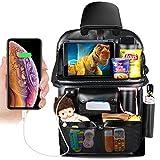 DRIVIM Car Backseat Organizer, Multifunctional Premium PU Leather Travel Car Storage Bags with Foldable Tray, iPad Phone Umbrella Bag, Tissue Box, 3 Mesh Bags, 1 Large Bag 4-USB Port, etc (Black)