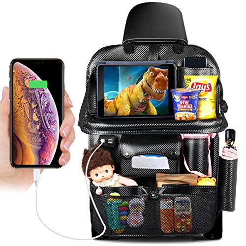 DRIVIM Car Backseat Organizer, Multifunctional Premium PU Leather Travel Car Storage Bags with Foldable Tray, iPad Phone Umbrella Bag, Tissue Box, 3 Mesh Bags, 1 Large Bag 4-USB Port, etc (Black)