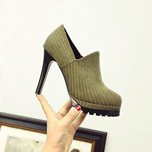 Alto Zapatos GAOLIM Zapatos Solo Muelle Fino Zapatos Con Zapatos Agua Mate Tacón Mujer El verde Los De De H4pP4qI