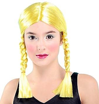 peluca amarilla con trenzas
