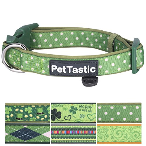 Best Adjustable Medium Dog Collar - PetTastic Durable Soft & Heavy Duty with Cute Patrick's Green Design, Outdoor & Indoor use Comfort Dog Collar for girls, boys, puppy, adults, including - Best Specs For Men