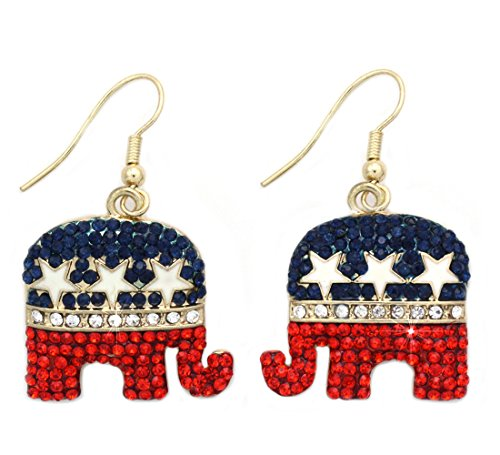 4th of July USA American Flag GOP Republican Party Elephant Earrings (Elephant Gold-tone) ()