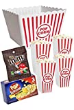 Plastic Popcorn Containers - Set of 4 Large Serving Bowl Bundle - Party Bundle Sweet & Salty M & M Butter Popcorn