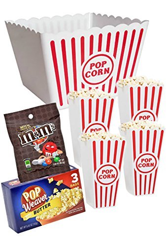 Popcorn Butter Server (Plastic Popcorn Containers - Set of 4 Large Serving Bowl Bundle - Party Bundle Sweet & Salty M & M Butter Popcorn)
