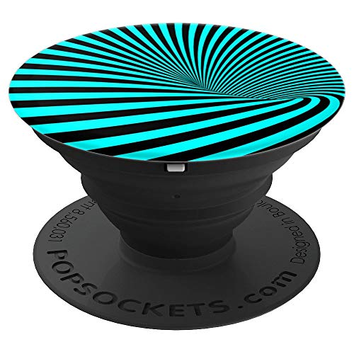Vortex Socket Cyan Black Tornado Pattern Eye-Catcher - PopSockets Grip and Stand for Phones and Tablets