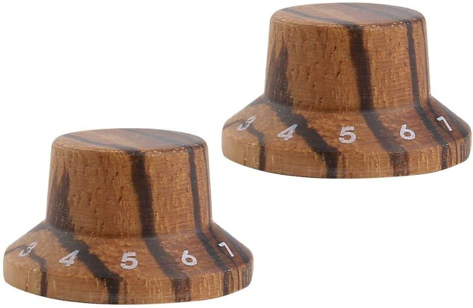 KAISH 4-Pack Wood Knobs LP//Strat Style Bell Knobs Guitar Bass Wood Top Hat Knob with Numbers 1-10 Zebra Wood