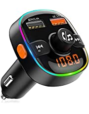 FM Transmitter for Car Bluetooth 5.0, TEUMI 7 Colors Light Dual USB QC3.0 & 2.4A Car Charger Bluetooth Car Kit, Siri & Google Voice Assistant Wireless Hands-Free Car Adapter, Support U Disk TF Card