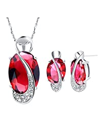 Jewelry Sets, Layla White Gold Plated Crystal Bridal Pendant Necklace Earrings Sets