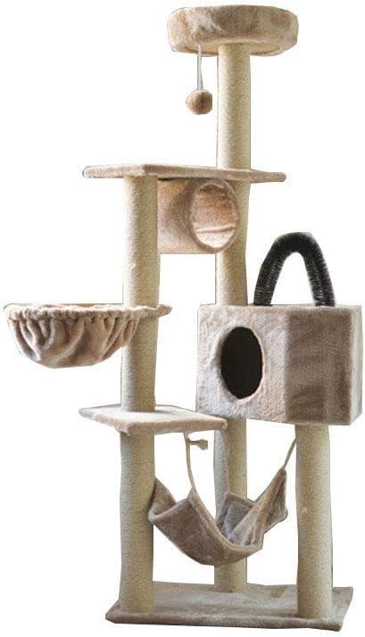 サイザルアザミの木の大きな登山フレーム木製の3階建てのプラットフォームのプラットフォームの猫ホールクライミングフレームの豪華なバージョン