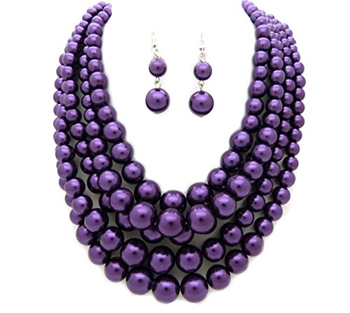 Fashion 21 Women's Five Multi-Strand Simulated Pearl Statement Necklace and Earrings Set (Purple)