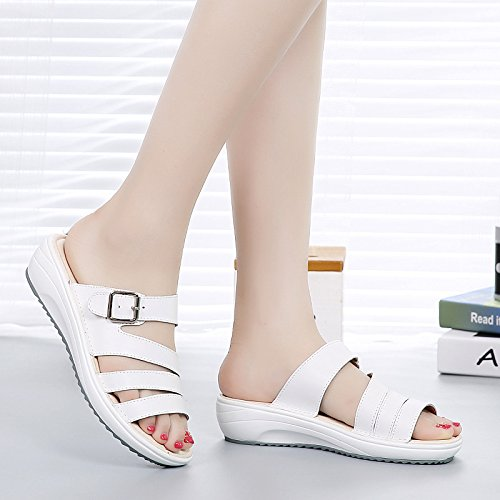 Alla Donna AJUNR spessore bianco piedini cintura Moda 36 di per 4cm pantofole Da confortevole set Sandali clip Pan di morbido spagna di 40 Sxrwt4xq