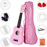 ADM Ukulele 21 Inch Soprano Wood Beginner Kit with Teaching CD Gig bag Tuner Fingerboard Sticker Chord card, Pink