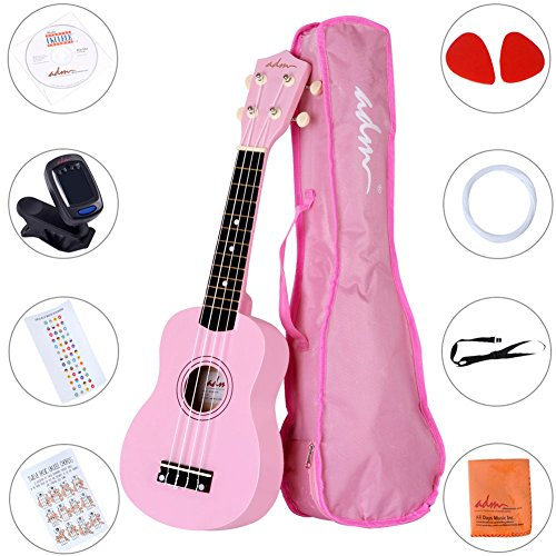 ADM Ukulele 21 Inch Soprano Wood Beginner Kit with Teaching CD Gig bag Tuner Fingerboard Sticker Chord card, Pink for $<!--$35.99-->