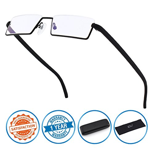 (CGID Half Rim Anti-Blue light Readers, Computer Reading Glasses with TR90 Frame for Men and Women,XBK001)
