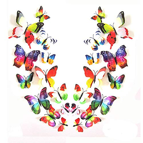 Romantiko 24 Pcs Fashion 3D Double Wings Butterfly Stickers Decor Decal Wall Stickers Art For Home and Room. (Iridescent)