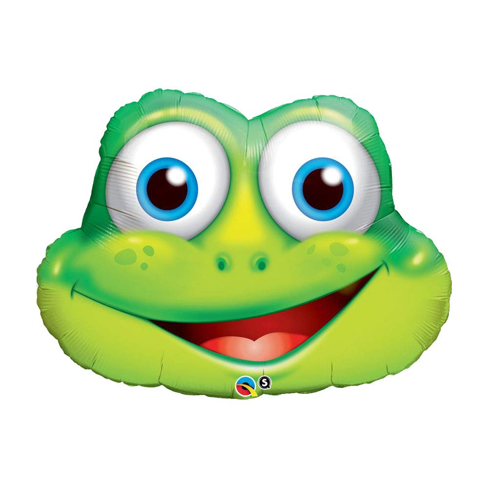Set of 2 Green Frog Head Jumbo 32' Foil Party Balloons