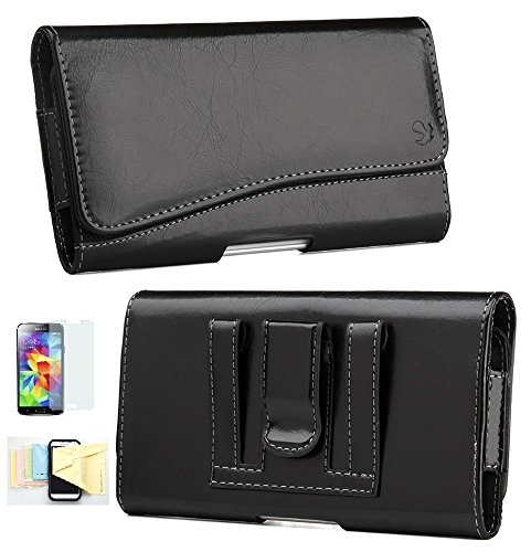 Price comparison product image Horizontal PU Leather Case Pouch Holster for Apple iPhone 6, 6s with Magnetic Closure with Belt Clip,Belt Loops Momiji [Screen Guard] Protector, Cleaning Cloth (Black)