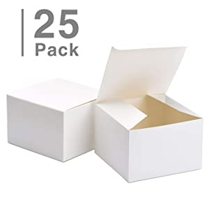 "GSSUSA Bridesmaid Proposal Boxes 25Pack 6x6x4"" White Kraft Gift Boxes with Lids for Gifts, Crafting, Cupcake Boxes"